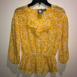 Anthropologie Girls From Savoy Sz XS Yellow Top